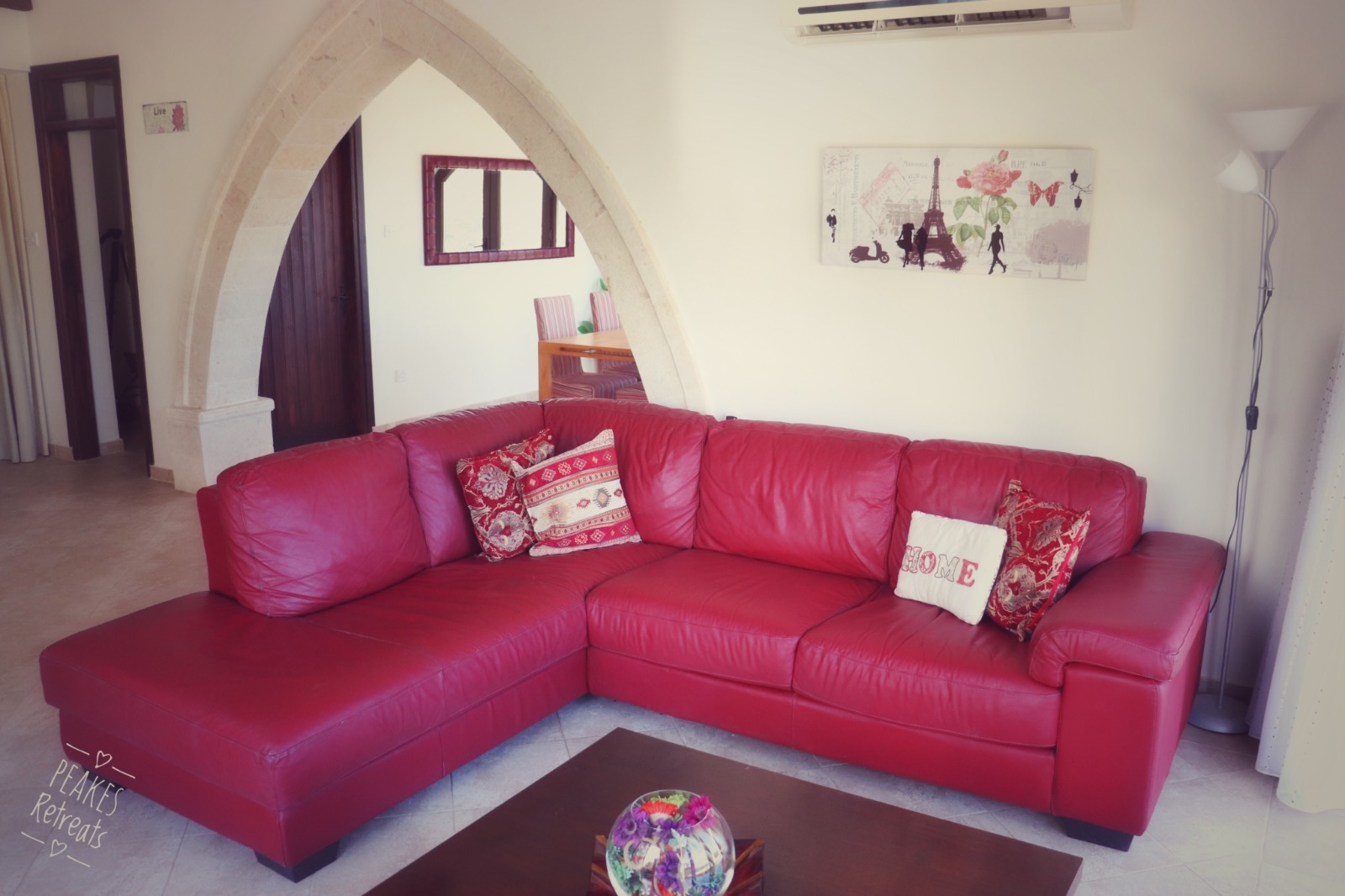 red corner sofa, in lunge of holiday villa cyprus