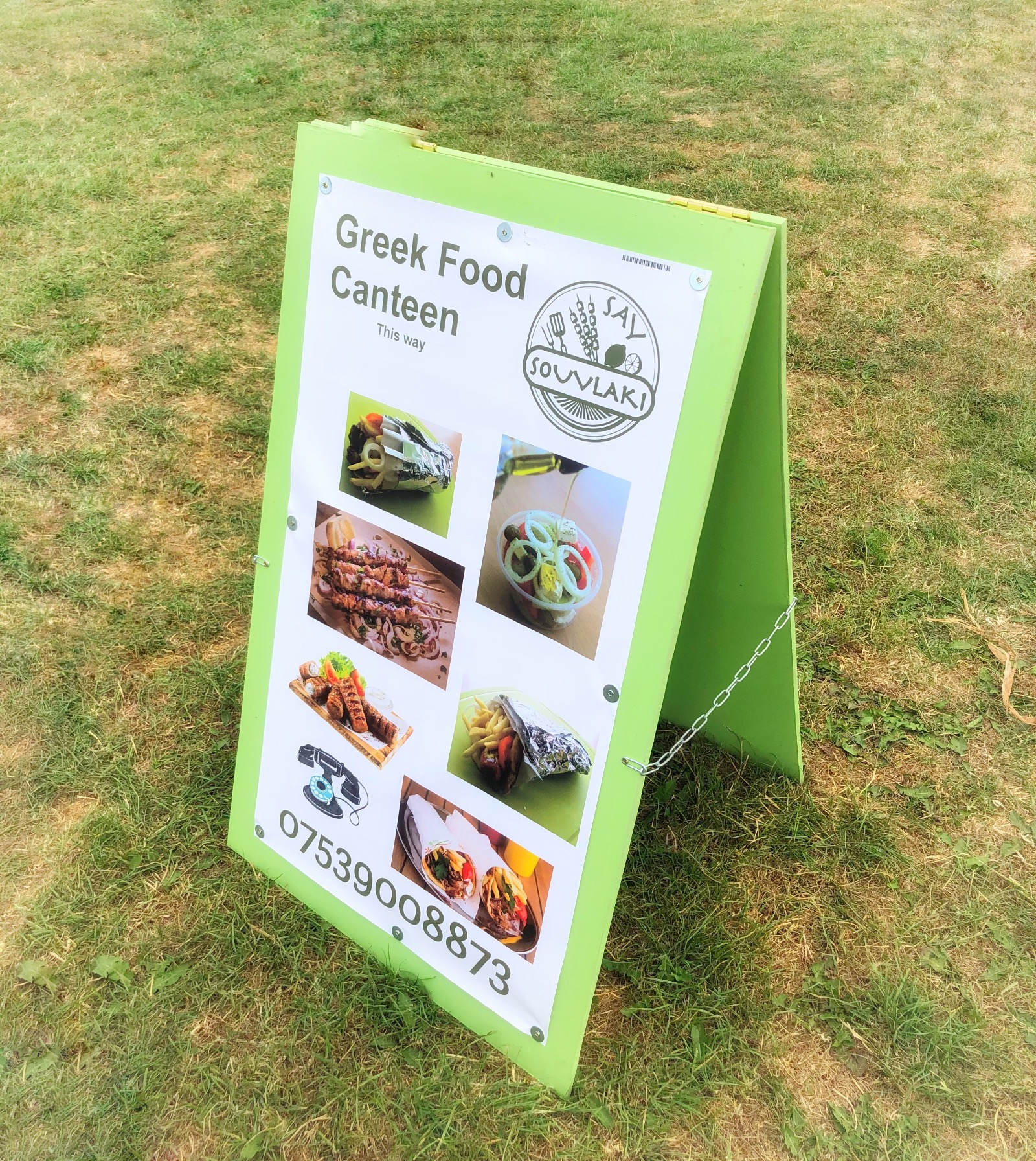Food board advertising Greek food and Elvaston Castle food festival