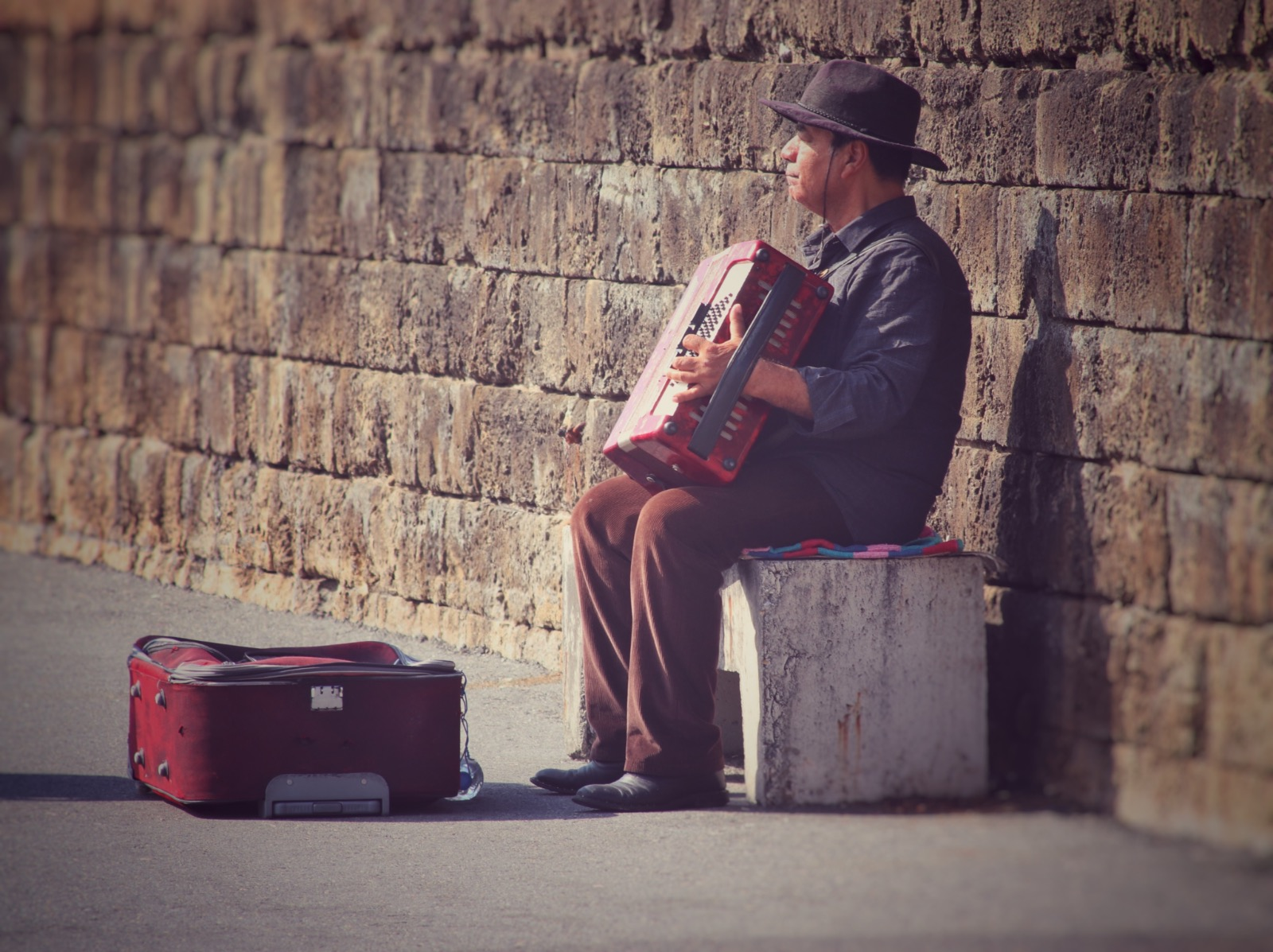Busker, harbour Girne, North Cyprus , Kyrenia, sunny day