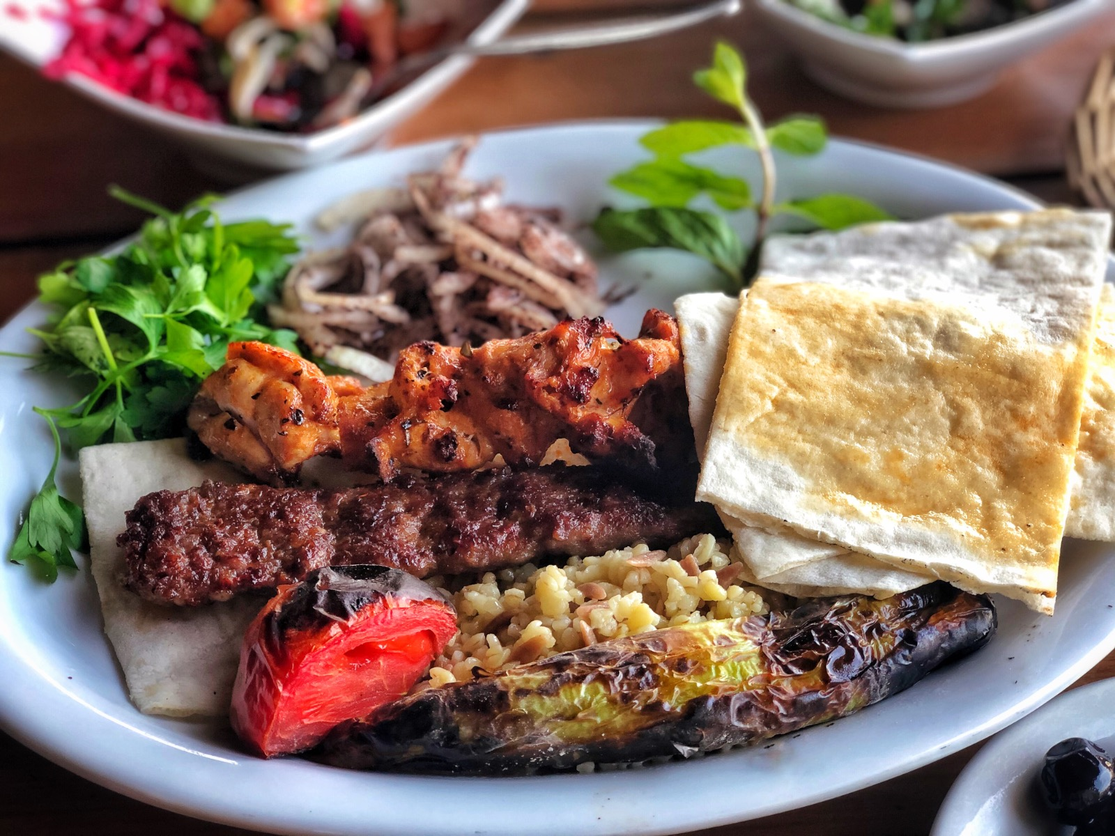 Turkish chicken and Adana kebab and salad