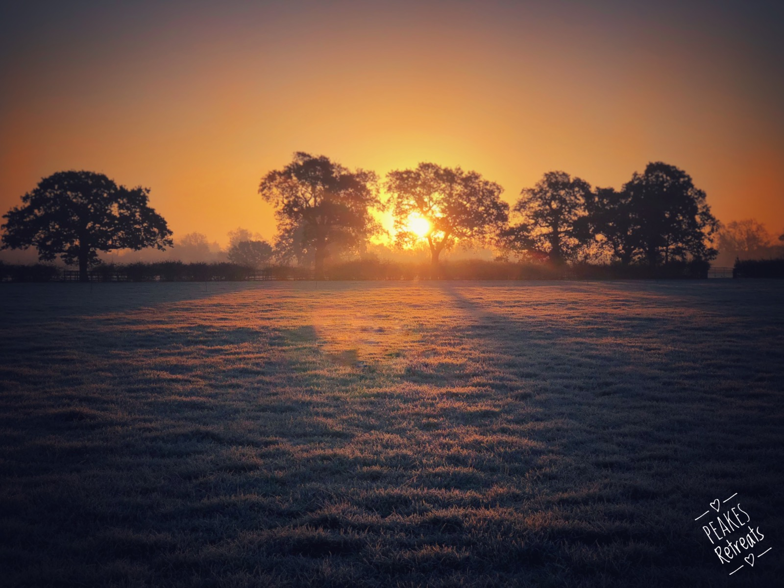 Sunrise in the countryside, anslow, staffordshire