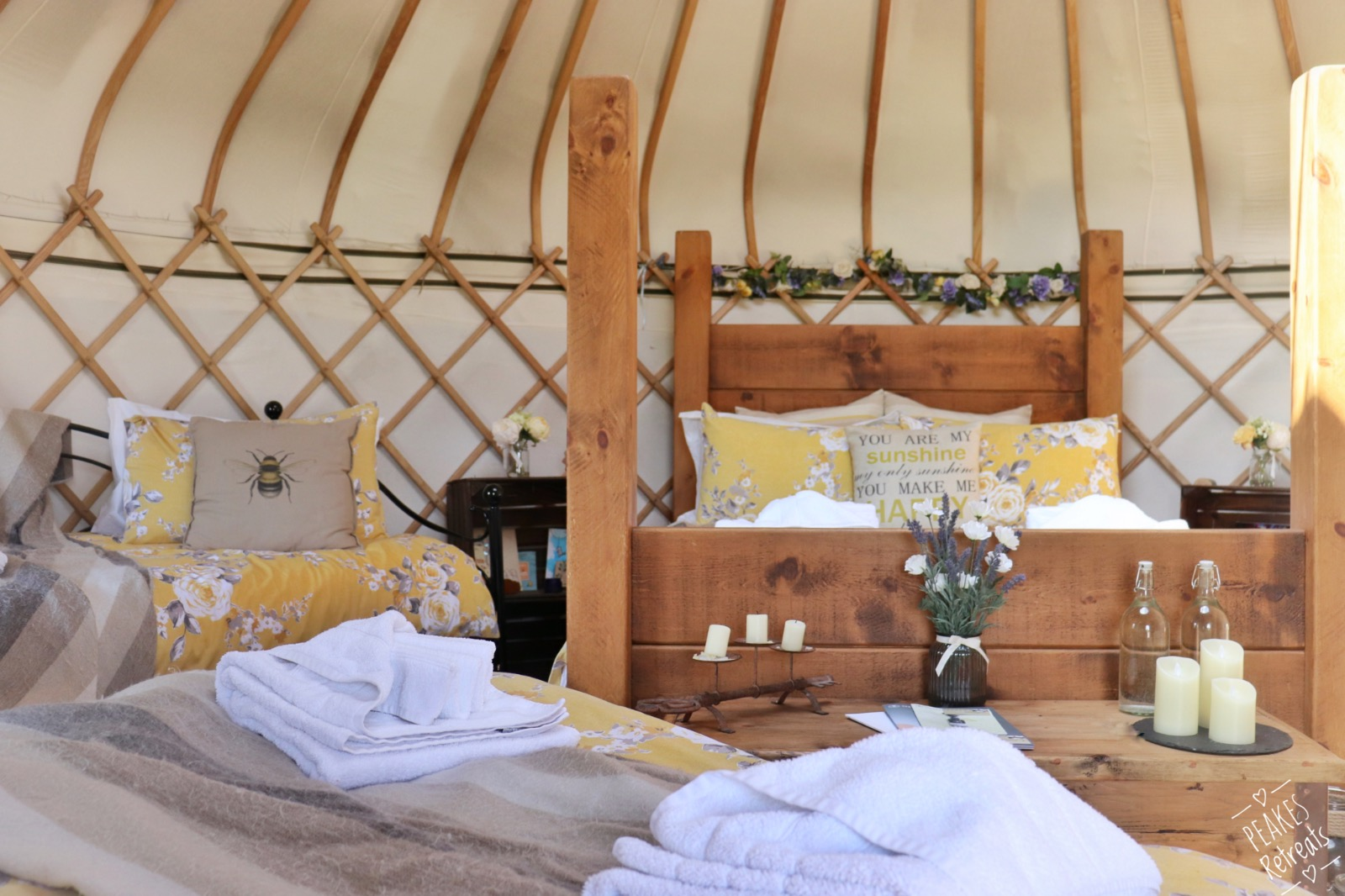 Glamping yurt interior