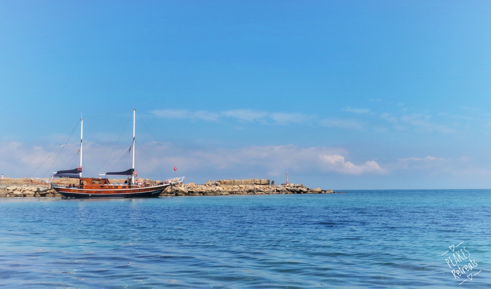 Traditional Turkish boat leaving Kyrenia harbour