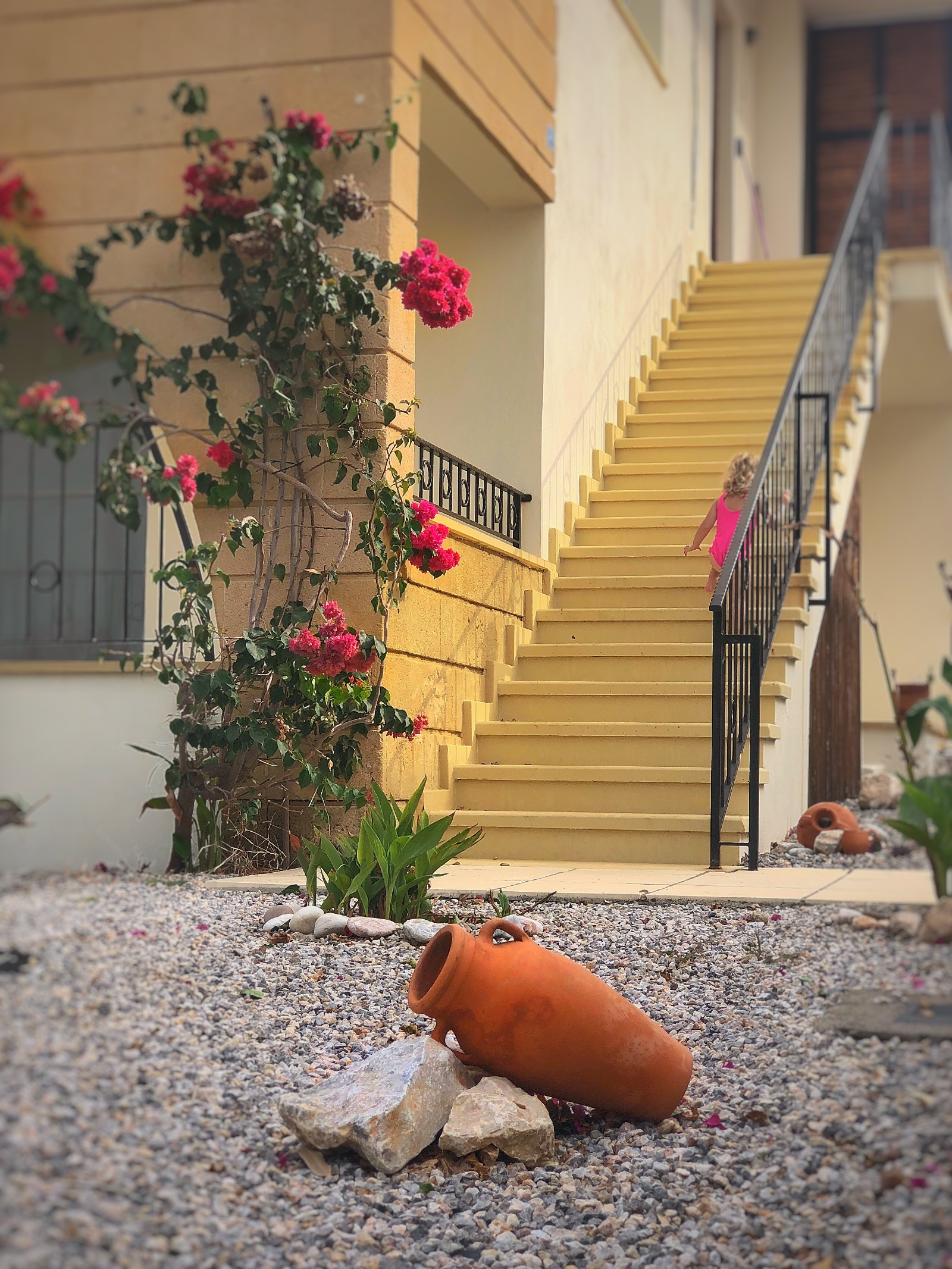 Beautiful flowers, pottery and landscaped gardens steps up to apartment