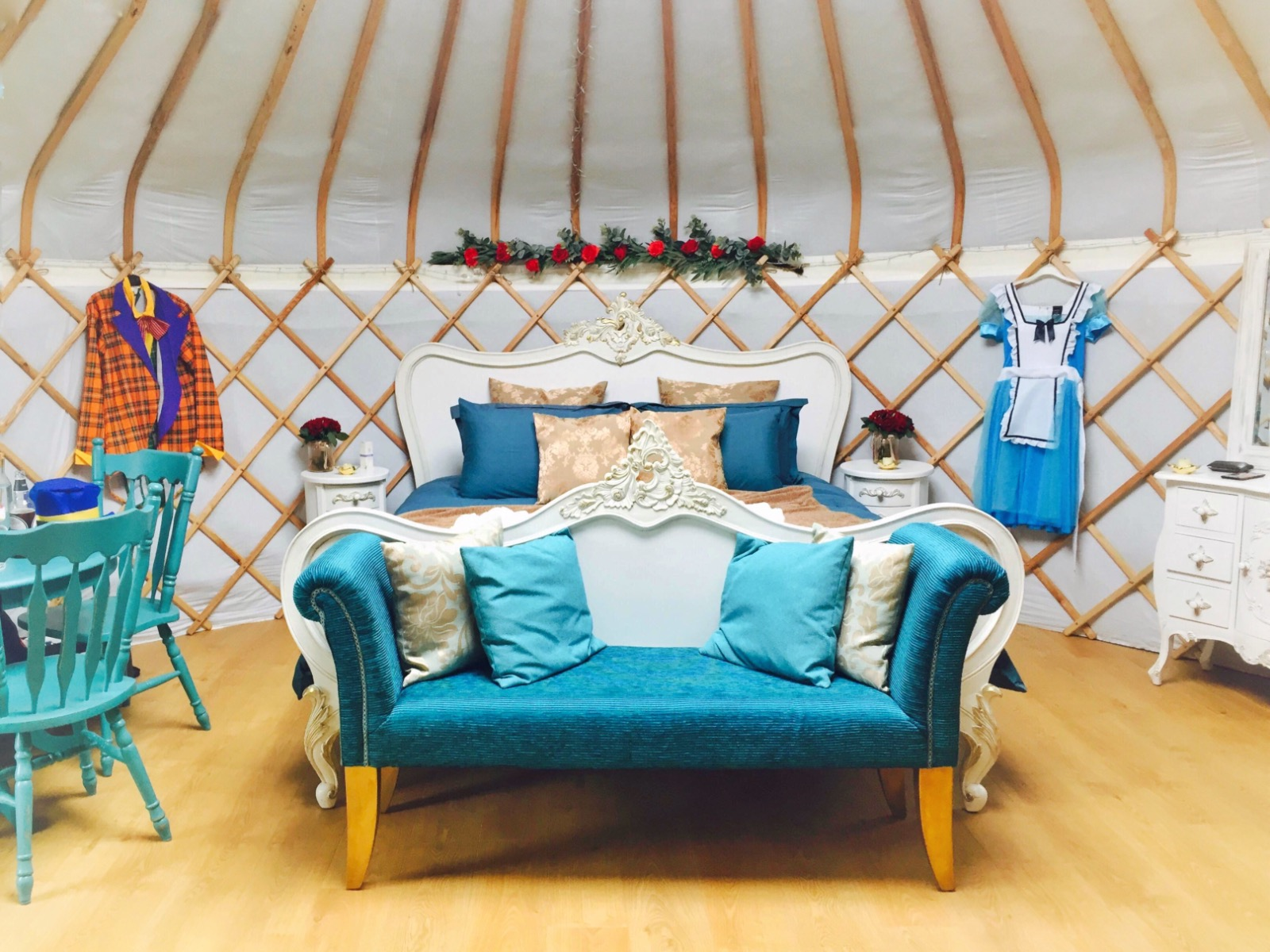 Yurt interior Alice in wonderland dress up.