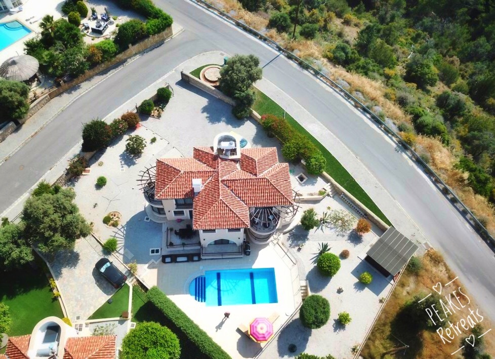Drone photo of villa in mountains in cyprus