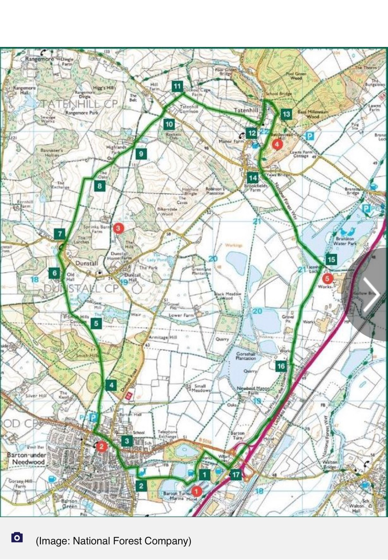 Map of silver circuit walk, staffordshire