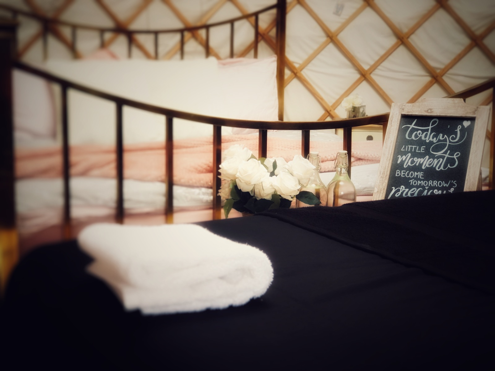 Massage table in pretty glamping yurt
