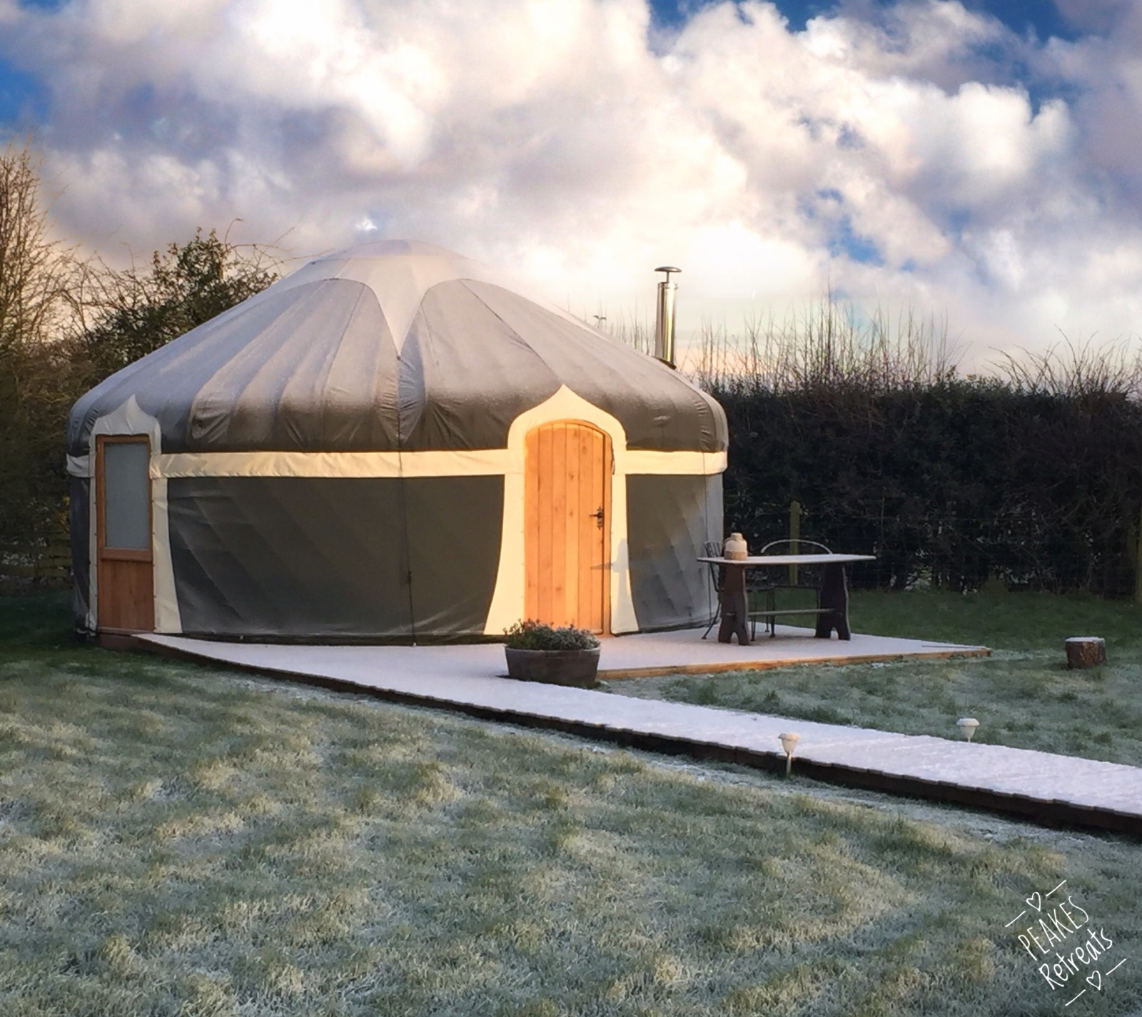 Glamping yurt on frosty morning