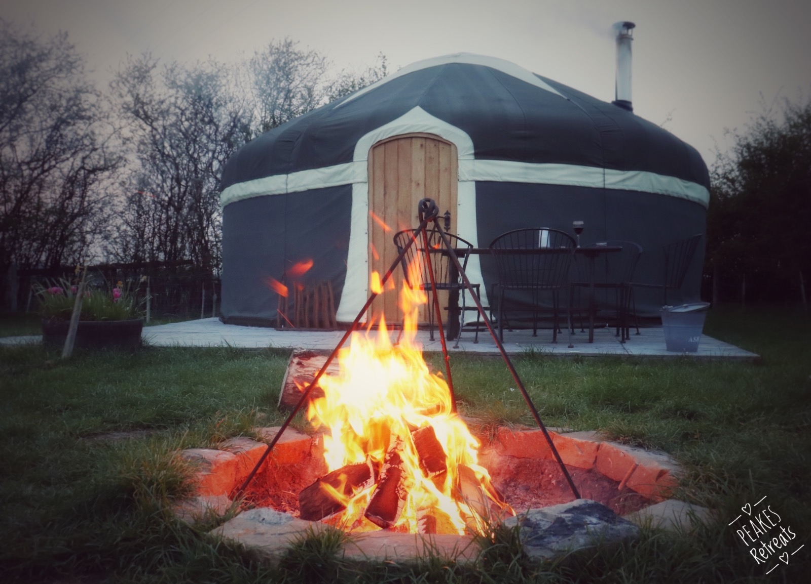 Luxury glamping yurt and firepit