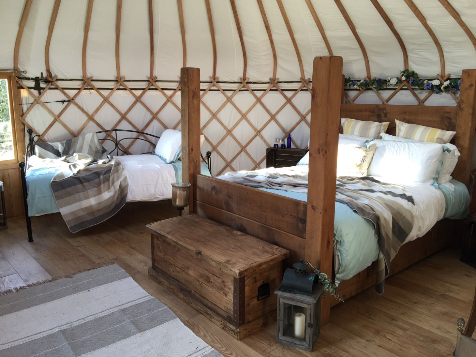 King size bed and single bed made ready for our glampers in cosy Milne's corner yurt. This is luxury camping.