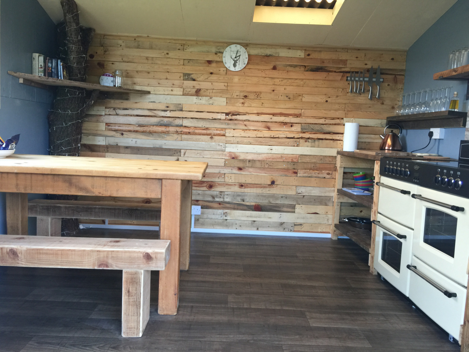 Our fully equipped cooking cabin with electric range, fridge and beautiful interior decor. Will make your glamping experience feel home from home.