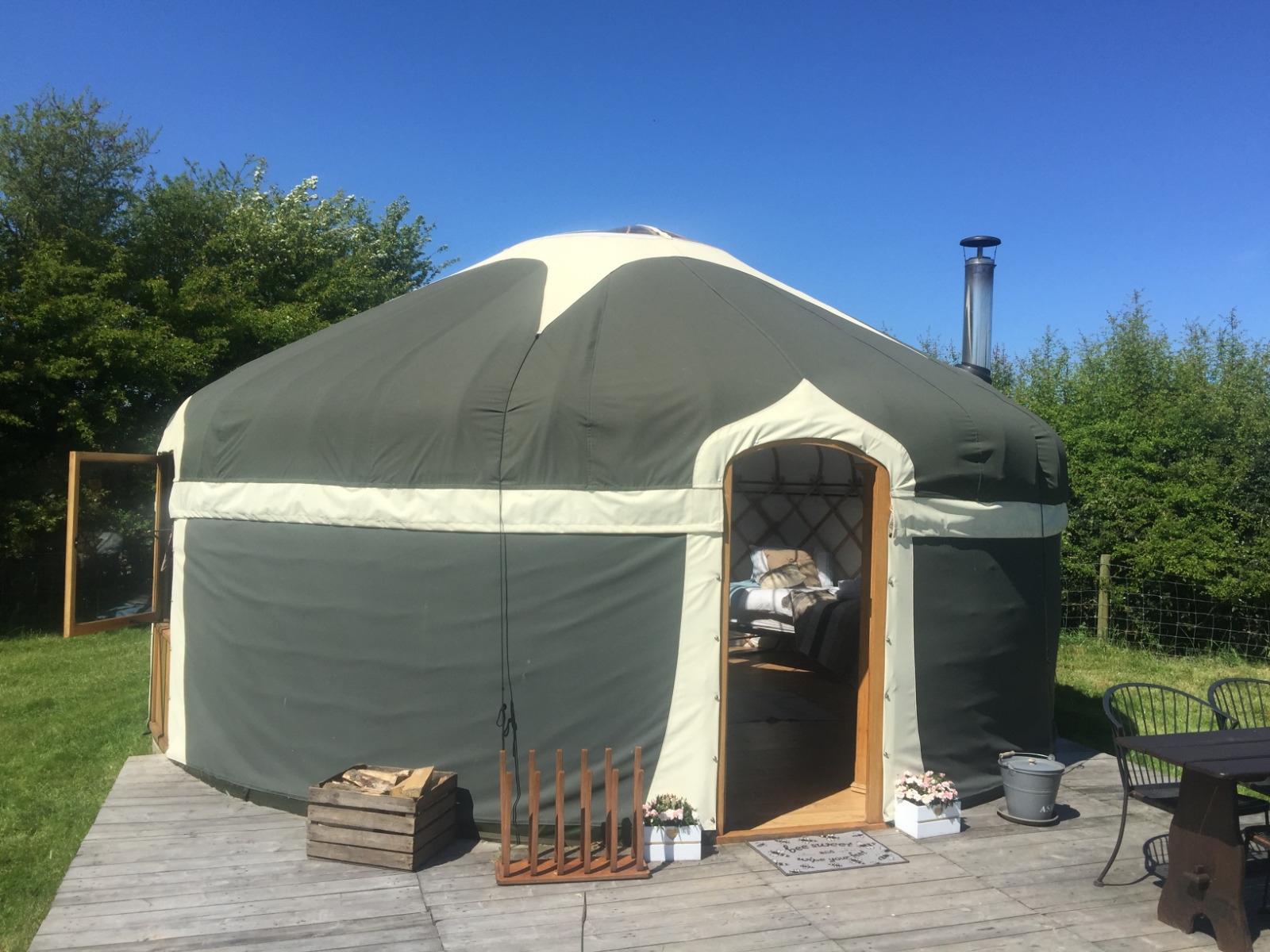 Luxury camping in style in Milnes Corner yurt, looking lovely in the sunshine.