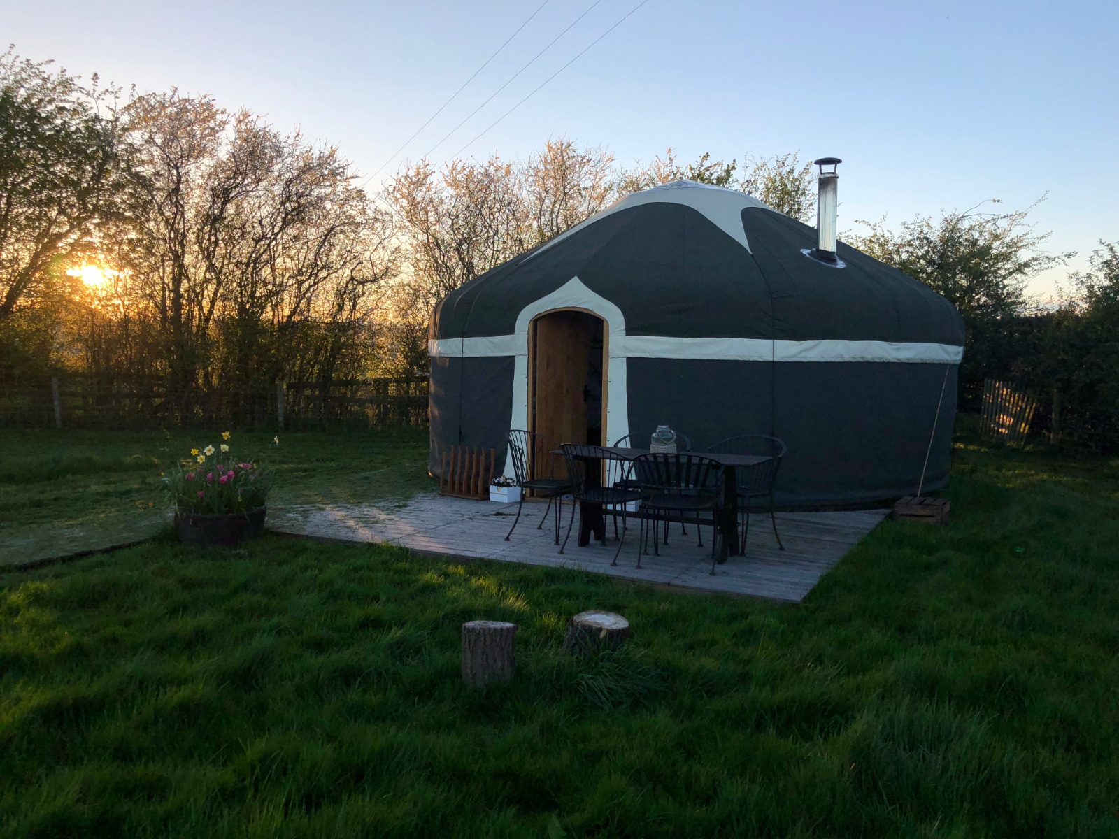 Sun setting behind our luxury yurts