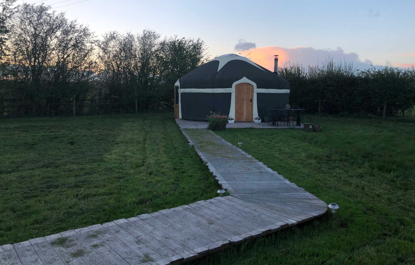 One of our luxury yurts in the sunset