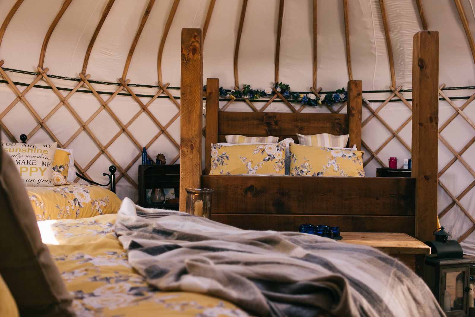 Comfy beds and cosy blankets in milnes corner luxury yurt